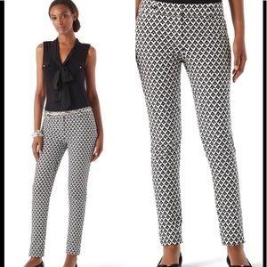 WHBM Geo-Print Ankle Pants Black White Slim EUC